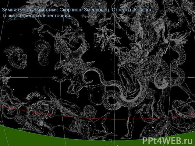 Зимняя часть эклиптики: Скорпион, Змееносец, Стрелец, Козерог. Точка зимнего солнцестояния.
