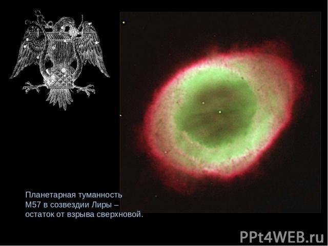 Планетарная туманность М57 в созвездии Лиры – остаток от взрыва сверхновой.