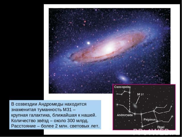 В созвездии Андромеды находится знаменитая туманность М31 – крупная галактика, ближайшая к нашей. Количество звёзд – около 300 млрд. Расстояние – более 2 млн. световых лет.