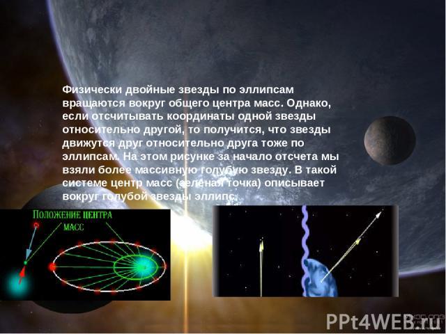 Для начала выясним, какие звезды так называют. Физически двойные звезды по эллипсам вращаются вокруг общего центра масс. Однако, если отсчитывать координаты одной звезды относительно другой, то получится, что звезды движутся друг относительно друга…