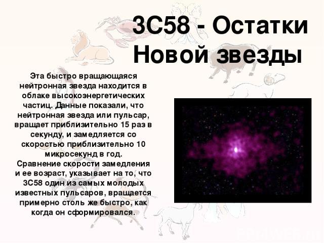 3C58 - Остатки Новой звезды Эта быстро вращающаяся нейтронная звезда находится в облаке высокоэнергетических частиц. Данные показали, что нейтронная звезда или пульсар, вращает приблизительно 15 раз в секунду, и замедляется со скоростью приблизитель…