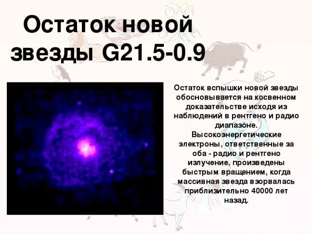 Остаток новой звезды G21.5-0.9 Остаток вспышки новой звезды обосновывается на косвенном доказательстве исходя из наблюдений в рентгено и радио диапазоне. Высокоэнергетические электроны, ответственные за оба - радио и рентгено излучение, произведены …