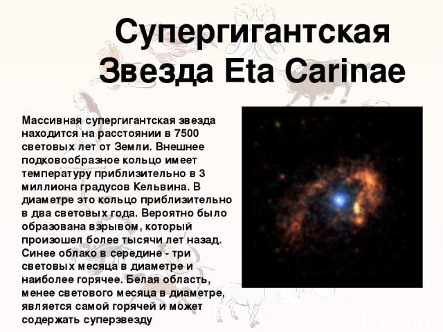Супергигантская Звезда Eta Carinae Массивная супергигантская звезда находится на расстоянии в 7500 световых лет от Земли. Внешнее подковообразное кольцо имеет температуру приблизительно в 3 миллиона градусов Кельвина. В диаметре это кольцо приблизит…