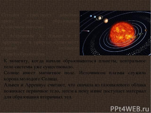 Сегодня существует довольно много гипотез образования Солнечной системы. 1. Астрономы X. Альвен и Г. Аррениус - в природе существует единый механизм планетообразования. К моменту, когда начали образовываться планеты, центральное тело системы уже сущ…