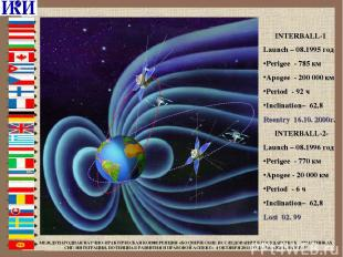 INTERBALL-1 Launch – 08.1995 год Perigee - 785 км Apogee - 200 000 км Period - 9