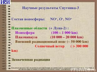 Состав ионосферы: NO+, O+, NO+ Плазменные области (+ Луна-2) : Ионосфера (100 –