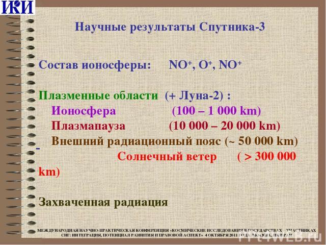 Состав ионосферы: NO+, O+, NO+ Плазменные области (+ Луна-2) : Ионосфера (100 – 1 000 km) Плазмапауза (10 000 – 20 000 km) Внешний радиационный пояс (~ 50 000 km) Солнечный ветер ( > 300 000 km) Захваченная радиация Научные результаты Спутника-3 МЕЖ…