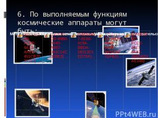 6. По выполняемым функциям космические аппараты могут быть: