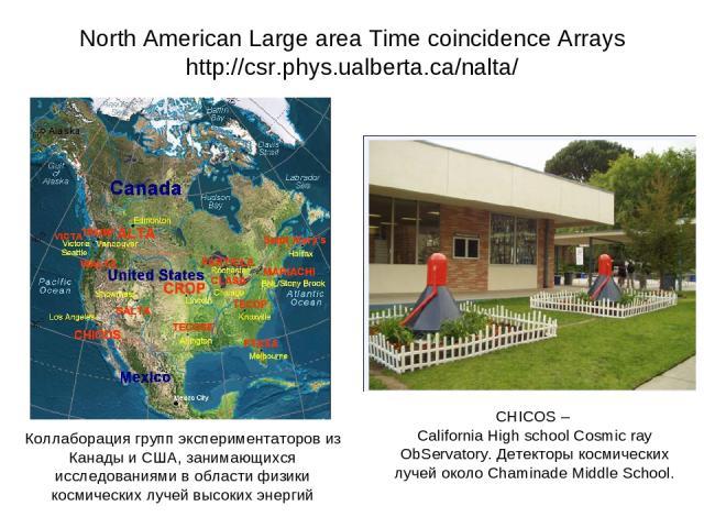 North American Large area Time coincidence Arrays http://csr.phys.ualberta.ca/nalta/ CHICOS – California High school Cosmic ray ObServatory. Детекторы космических лучей около Chaminade Middle School. Коллаборация групп экспериментаторов из Канады и …
