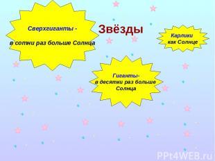 Звёзды Сверхгиганты - в сотни раз больше Солнца Карлики как Солнце Гиганты- в де