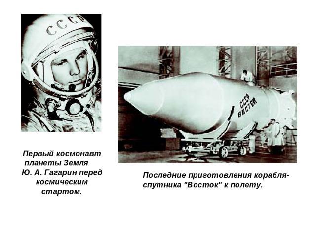 Первый космонавт планеты Земля Ю. А. Гагарин перед космическим стартом. Последние приготовления корабля-спутника