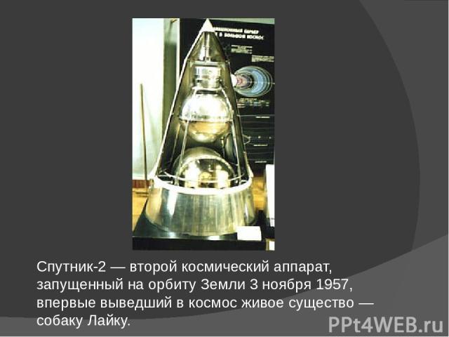 Спутник-2 — второй космический аппарат, запущенный на орбиту Земли 3 ноября 1957, впервые выведший в космос живое существо — собаку Лайку.
