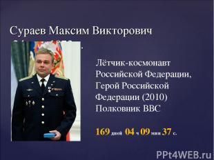 Сураев Максим Викторович 24 мая 1972 г. Лётчик-космонавт Российской Федерации, Г
