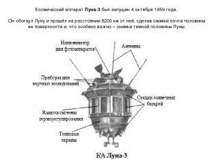 Космический аппарат Луна-3 был запущен 4 октября 1959 года. Он обогнул Луну и пр
