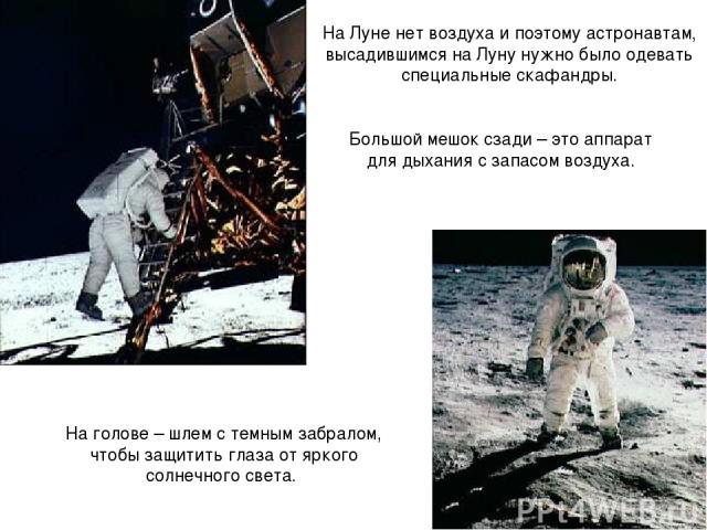 На Луне нет воздуха и поэтому астронавтам, высадившимся на Луну нужно было одевать специальные скафандры. Большой мешок сзади – это аппарат для дыхания с запасом воздуха. На голове – шлем с темным забралом, чтобы защитить глаза от яркого солнечного света.