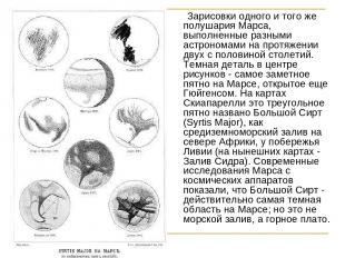 Зарисовки одного и того же полушария Марса, выполненные разными астрономами на п