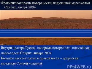 Фрагмент панорамы поверхности, полученной марсоходом Спирит, январь 2004 Внутри