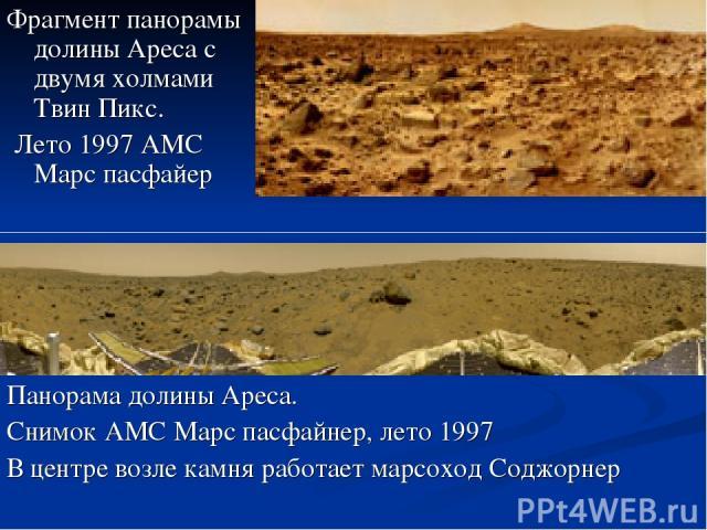 Фрагмент панорамы долины Ареса с двумя холмами Твин Пикс. Лето 1997 АМС Марс пасфайер Панорама долины Ареса. Снимок АМС Марс пасфайнер, лето 1997 В центре возле камня работает марсоход Соджорнер