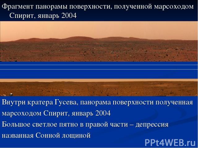 Фрагмент панорамы поверхности, полученной марсоходом Спирит, январь 2004 Внутри кратера Гусева, панорама поверхности полученная марсоходом Спирит, январь 2004 Большое светлое пятно в правой части – депрессия названная Сонной лощиной