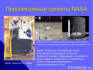 Перспективные проекты NASA Макет базы на 4 человек электростатический радиационн