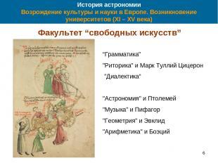 61 * История астрономии Возрождение культуры и науки в Европе. Возникновение уни
