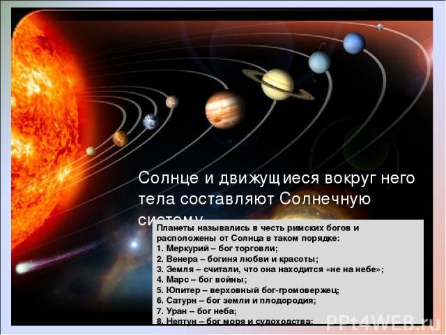 Солнце и движущиеся вокруг него тела составляют Солнечную систему. Планеты назывались в честь римских богов и расположены от Солнца в таком порядке: 1. Меркурий – бог торговли; 2. Венера – богиня любви и красоты; 3. Земля – считали, что она находитс…
