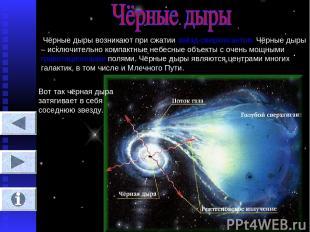 Чёрные дыры возникают при сжатии звёзд-сверхгигантов. Чёрные дыры – исключительн