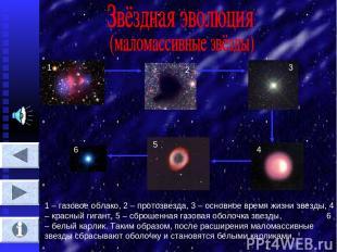 1 2 3 4 5 6 1 – газовое облако, 2 – протозвезда, 3 – основное время жизни звезды