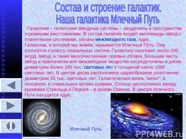 Галактики – гигантские звёздные системы – разделены в пространстве огромными расстояниями. В состав галактик входят миллиарды звёзд с планетными системами, облака межзвёздного газа, ядро. Галактика, в которой мы живём, называется Млечный Путь. Она о…