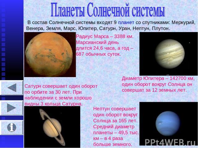 В состав Солнечной системы входят 9 планет со спутниками: Меркурий, Венера, Земля, Марс, Юпитер, Сатурн, Уран, Нептун, Плутон. Радиус Марса – 3388 км. Марсианский день длится 24,6 часа, а год – 687 обычных суток. Диаметр Юпитера – 142700 км, один об…