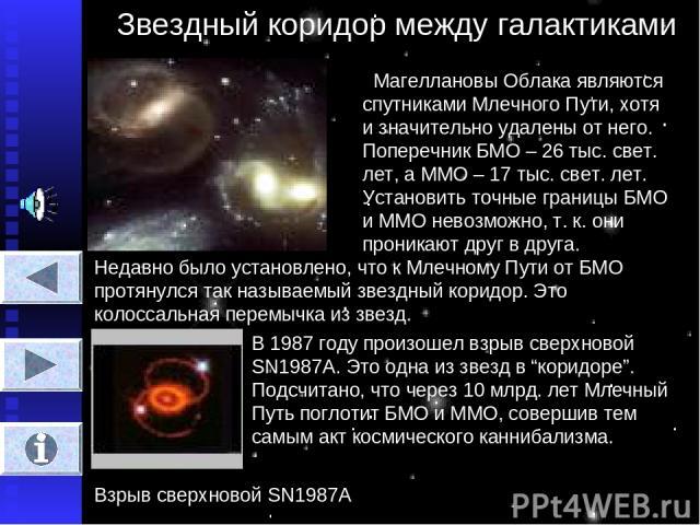 Звездный коридор между галактиками Магеллановы Облака являются спутниками Млечного Пути, хотя и значительно удалены от него. Поперечник БМО – 26 тыс. свет. лет, а ММО – 17 тыс. свет. лет. Установить точные границы БМО и ММО невозможно, т. к. они про…