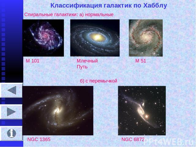 Классификация галактик по Хабблу Спиральные галактики: а) нормальные М 101 Млечный Путь М 51 б) с перемычкой NGC 1365 NGC 6872