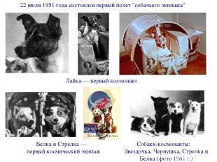 """22 июля 1951 года состоялся первый полет """"собачьего экипажа"""" Лайка — первый косм"""