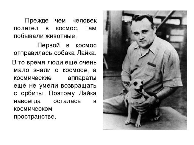 Прежде чем человек полетел в космос, там побывали животные. Первой в космос отправилась собака Лайка. В то время люди ещё очень мало знали о космосе, а космические аппараты ещё не умели возвращать с орбиты. Поэтому Лайка навсегда осталась в космичес…