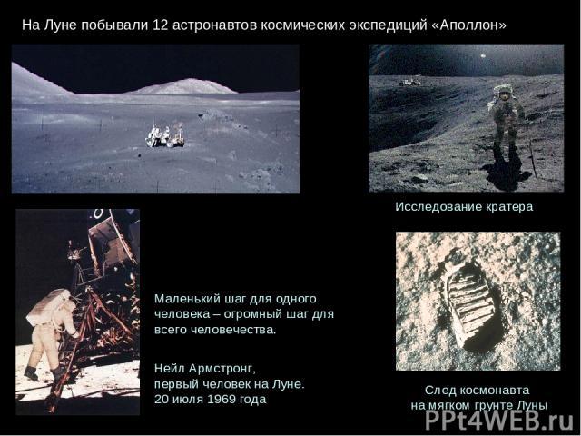 НаЛунепобывали12 астронавтовкосмическихэкспедиций «Аполлон» Исследование кратера След космонавта на мягком грунте Луны Маленький шаг для одного человека – огромный шаг для всего человечества. Нейл Армстронг, первый человек на Луне. 20июля 1969года