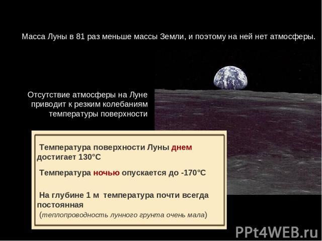 МассаЛуныв81 разменьшемассыЗемли,ипоэтомунанейнетатмосферы. ОтсутствиеатмосферынаЛуне приводит к резкимколебаниям температурыповерхности