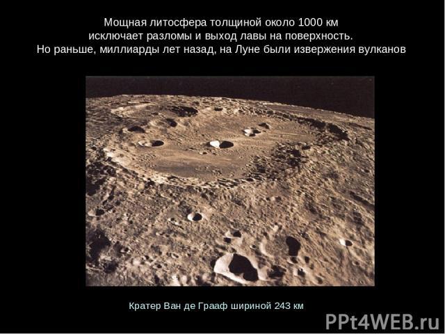 Мощная литосфера толщиной около 1000км исключает разломы и выход лавы на поверхность. Но раньше, миллиарды лет назад, на Луне были извержения вулканов Кратер Ван де Грааф шириной 243км