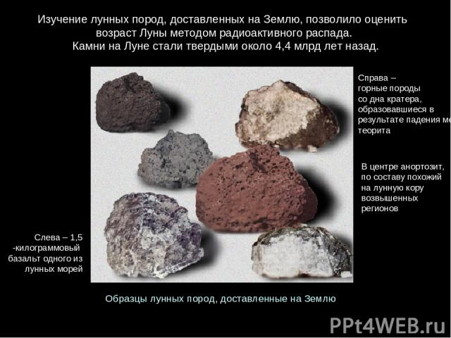 Изучениелунныхпород, доставленныхнаЗемлю, позволилооценить возрастЛуныметодомрадиоактивногораспада. КамнинаЛунесталитвердымиоколо4,4 млрд летназад. Справа–горныепороды содна кратера, образовавшиесяв результатепаденияметеорит…