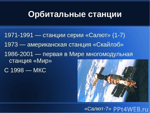 Орбитальные станции 1971-1991 — станции серии «Салют» (1-7) 1973 — американская станция «Скайлэб» 1986-2001 — первая в Мире многомодульная станция «Мир» С 1998 — МКС «Салют-7»