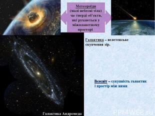 Метеороїди (малі небесні тіла) це тверді об'єкти, які рухаються у міжпланетному
