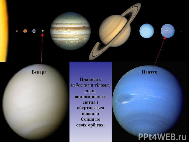 Венера Нептун Планети є небесними тілами, що не випромінюють світла і обертаються навколо Сонця по своїх орбітах.