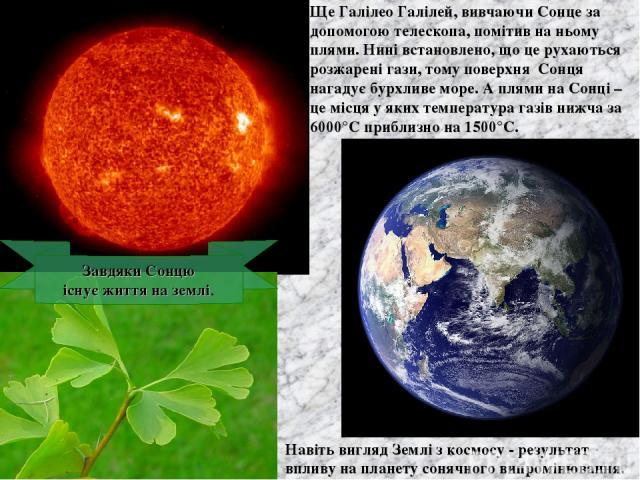 Ще Галілео Галілей, вивчаючи Сонце за допомогою телескопа, помітив на ньому плями. Нині встановлено, що це рухаються розжарені гази, тому поверхня Сонця нагадує бурхливе море. А плями на Сонці – це місця у яких температура газів нижча за 6000°С приб…