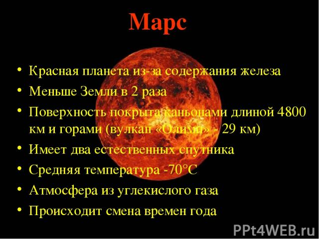 Марс Красная планета из-за содержания железа Меньше Земли в 2 раза Поверхность покрыта каньонами длиной 4800 км и горами (вулкан «Олимп» - 29 км) Имеет два естественных спутника Средняя температура -70°С Атмосфера из углекислого газа Происходит смен…