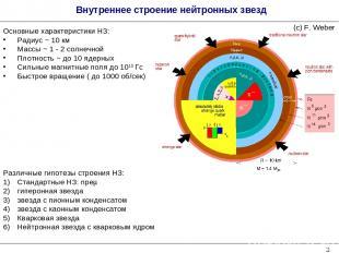 * Внутреннее строение нейтронных звезд Различные гипотезы строения НЗ: Стандартн