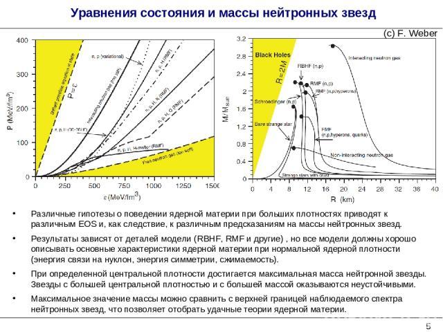 Уравнения состояния и массы нейтронных звезд Различные гипотезы о поведении ядерной материи при больших плотностях приводят к различным EOS и, как следствие, к различным предсказаниям на массы нейтронных звезд. Результаты зависят от деталей модели (…