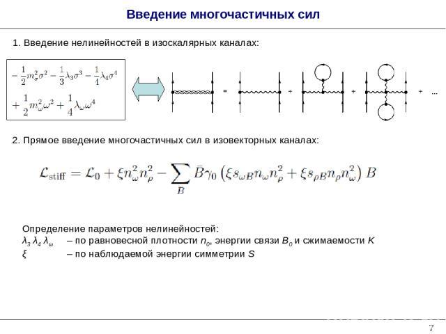 * Введение многочастичных сил 1. Введение нелинейностей в изоскалярных каналах: 2. Прямое введение многочастичных сил в изовекторных каналах: Определение параметров нелинейностей: λ3 λ4 λω – по равновесной плотности n0, энергии связи B0 и сжимаемост…
