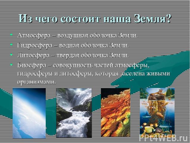 Из чего состоит наша Земля? Атмосфера – воздушная оболочка Земли. Гидросфера – водная оболочка Земли. Литосфера – твердая оболочка Земли. Биосфера – совокупность частей атмосферы, гидросферы и литосферы, которая заселена живыми организмами.