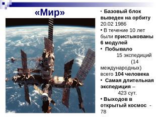 «Мир» Базовый блок выведен на орбиту 20.02 1986 В течение 10 лет были пристыкова