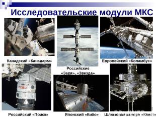 Исследовательские модули МКС Японский «Кибо» Российский «Поиск» Канадский «Канад
