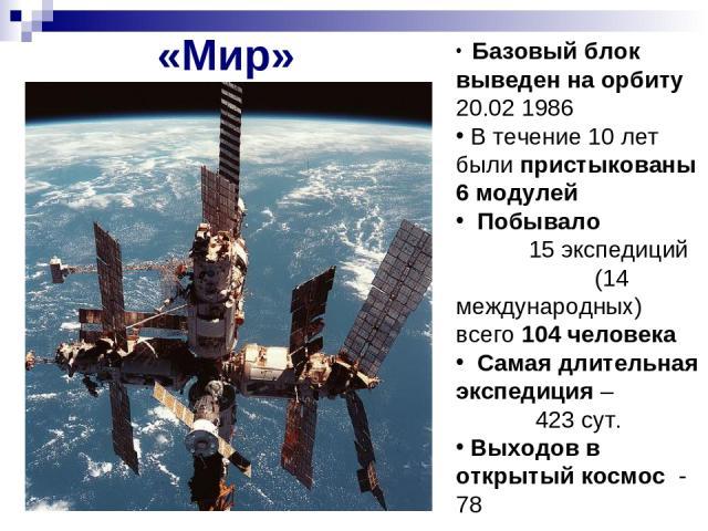 «Мир» Базовый блок выведен на орбиту 20.02 1986 В течение 10 лет были пристыкованы 6 модулей Побывало 15 экспедиций (14 международных) всего 104 человека Самая длительная экспедиция – 423 сут. Выходов в открытый космос - 78